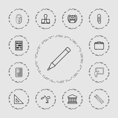 Collection of 13 school outline icons