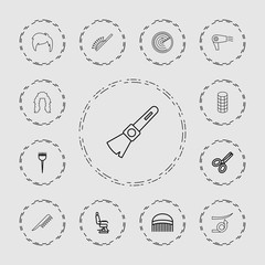 Collection of 13 hair outline icons