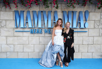 Lilly James and Amanda Seyfried attend the world premiere of Mamma Mia! Here We Go Again at the Apollo in Hammersmith, London