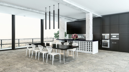 Large kitchen with dining area and appliances