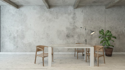 White desk next to chairs and floor lamp