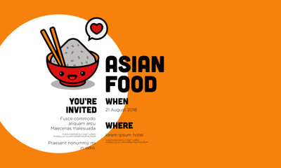 Asian Food invitation Design with Rice Bowl Chopsticks Where and When Details