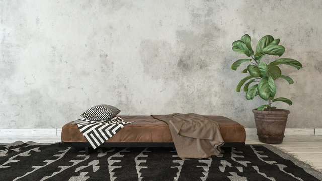 Empty room with plant and bed on top of rug