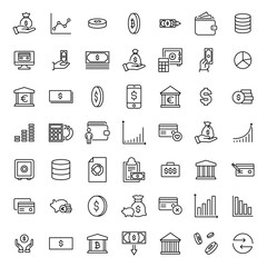 Simple set of investments related outline icons.