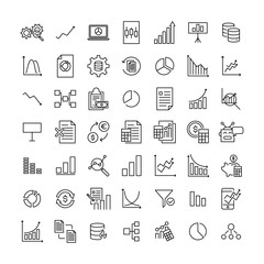 Simple set of big data related outline icons.