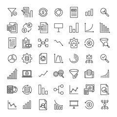 Set of premium analysis icons in line style.