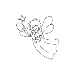 Tooth fairy holding  teeth children coloring page line art isolated on white