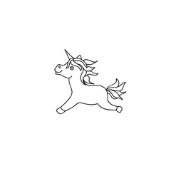 Cute baby unicorn pony kids coloring page line art isolated on white