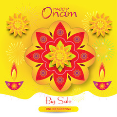 "Happy Onam Indian festival, August Summer Holiday India gift card, sale banner with Indian floral traditional ""pookalam"" - floral mandala pattern, lamp, flowers. ornamental background with fireworks"