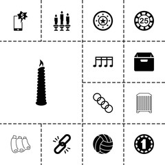 Collection of 13 single filled and outline icons