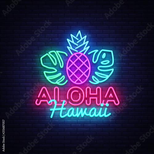 Aloha neon sign vector  Aloha Hawaii Design template neon