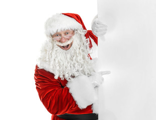 Authentic Santa Claus with blank poster on white background