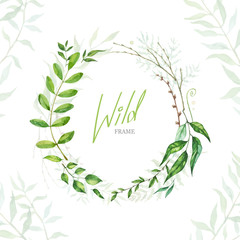 Floral Frame. Green retro leaf arranged un a shape of the wreath