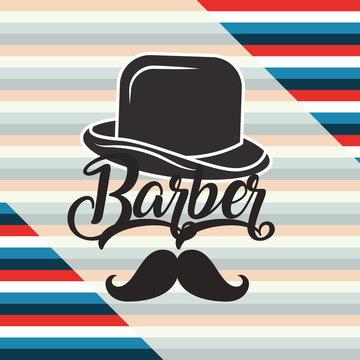 baber shop colors background traditional hat sign moustache vector illustration