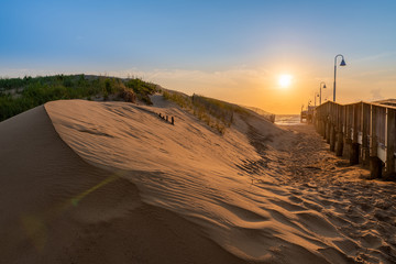 Dunes and the Sandbridge Fishing Pier in Sandbridge Virginia, Virginia Beach during a sunrise.  Pastel colors and a dreamy look