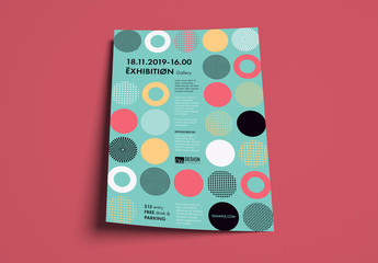 Flyer Layout with Colorful Patterns in Circles