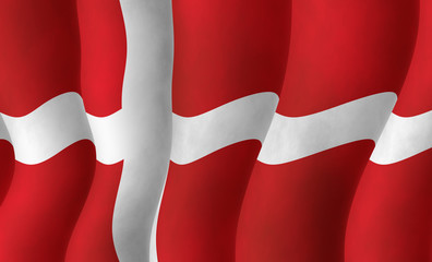 Illustraion of a flying Danish Flag