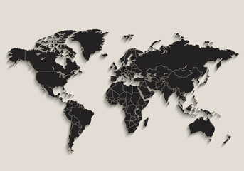 World map Black blackboard separate states individual vector