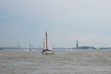 Sailboat with Statue of Liberty