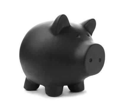 Black piggy bank on white background. Money saving
