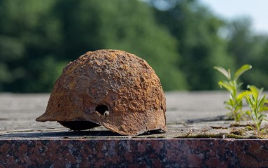 The helmet of a Soviet soldier