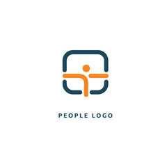 Abstract athlete logo icon vector design. Gym, sports games, fitness, business, trainer vector logo