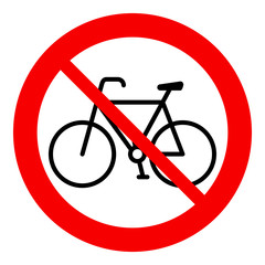 No bicycle, bicycle prohibition sign, vector illustration.