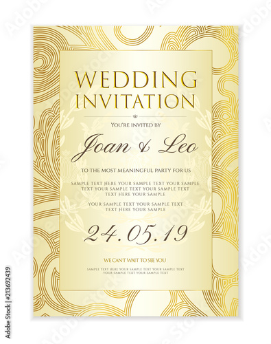 Wedding Invitation Design Template Save The Date Card Classic