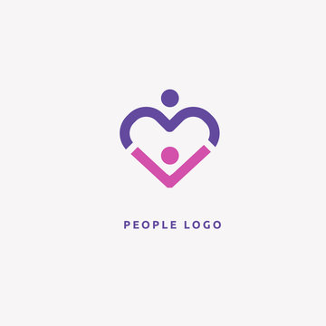 Abstract community logo icon vector design. Care, medicine, health, social work vector logo.