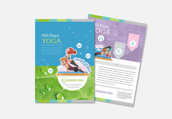 Yoga Flyer Layout with Character Illustrations