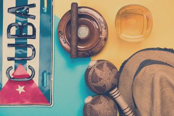 Exotic vacations in Cuba, conceptual items design