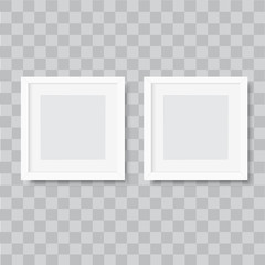 Realistic square white photo frame on transparent background. Vector