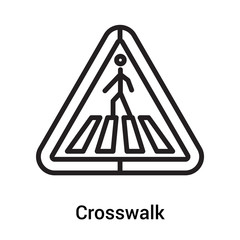 Crosswalk signal of triangular shape icon vector sign and symbol isolated on white background, Crosswalk signal of triangular shape logo concept