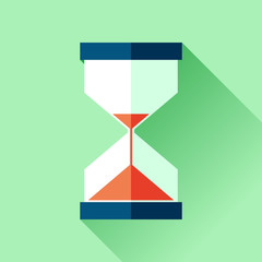 Hourglass icon in flat style, sandglass on green background. Vector design elements for you business project