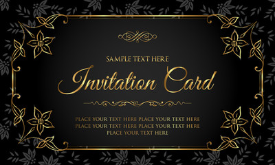 Luxury black and gold invitation card in vintage style