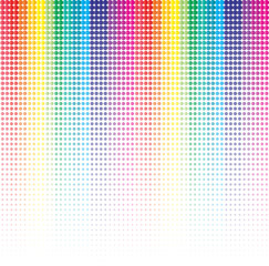 Colorful halftone background with dotted vertical lines.