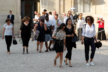Lynda, wife of France soccer player Steven N'Zonzi, and players relatives arrive for a reception to honour the France soccer team after their victory in the 2018 Russia Soccer World Cup, at the Elysee Palace in Paris