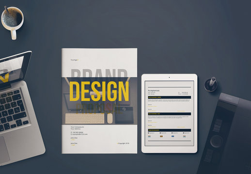 Brand Proposal Layout with Black and Yellow Accents