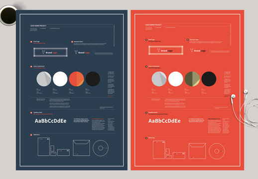 Blue and Red Brand Identity Poster Layout