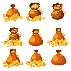 Set of old bags, purses, empty and full of gold, coins, brillants, treasures, for gaming, applications, vector, isolated, cartoon style