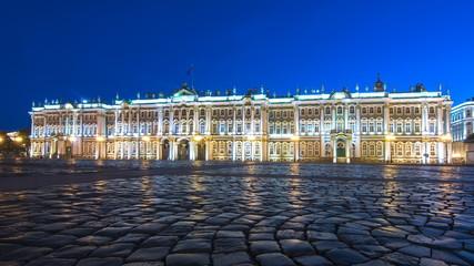Hermitage museum (Winter Palace) on Palace square at night, Saint Petersburg, Russia