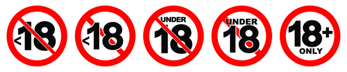 Under 18 not allowed sign. Number eighteen in red crossed circle. Wall mural