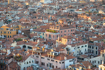 Aerial view of Venice rooftops before sunset, Italy