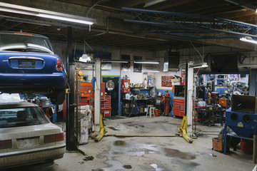 Cars for repairing in automobile repair shop