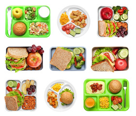 Set of serving trays and boxes with food for school lunch on white background