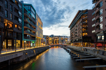 Aker Brygge In City Center in Oslo at the blue hour.