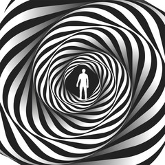 Psychology or fashion, a sample for printing. Black and white fractal background. Escher style. Images in the style of optical visual illusions - pop art.