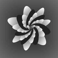 For printing and web.Black and white optical  flower illusion. Black and white fractal background. Surrealism. Shine flower background - Fractal Art.