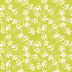 Lovely bright dill plant seamless pattern on a green background illustration