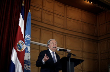 U.N. Secretary General Antonio Guterres, speaks during his visit to the United Nations School in San Jose, Costa Rica